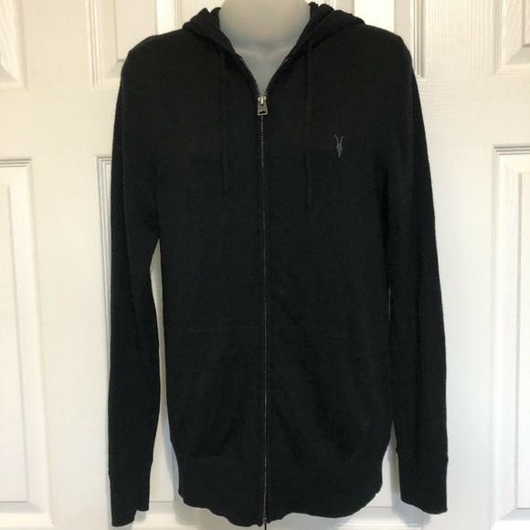 All Saints Jackets & Blazers - All Saints Small Jacket Black Hoodie Wool Sweater